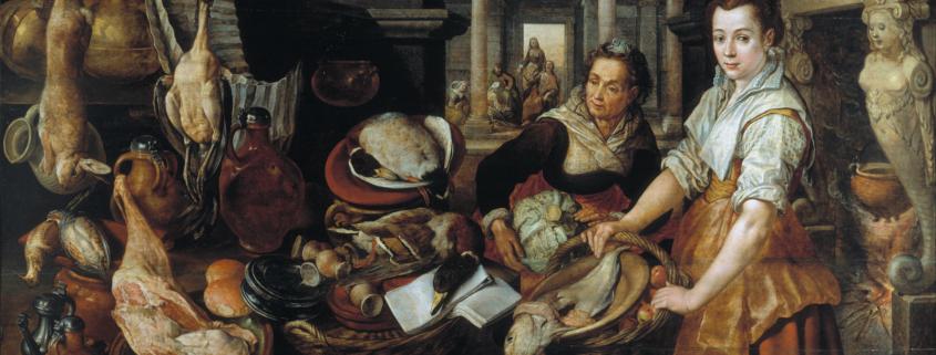 Pintura donde se refleja un compendio de comida y arte en época barroca.