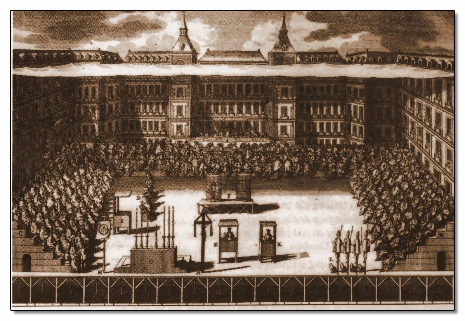 Ilustración de la Plaza Mayor representando un auto de Fe. Autor. Desconocido.
